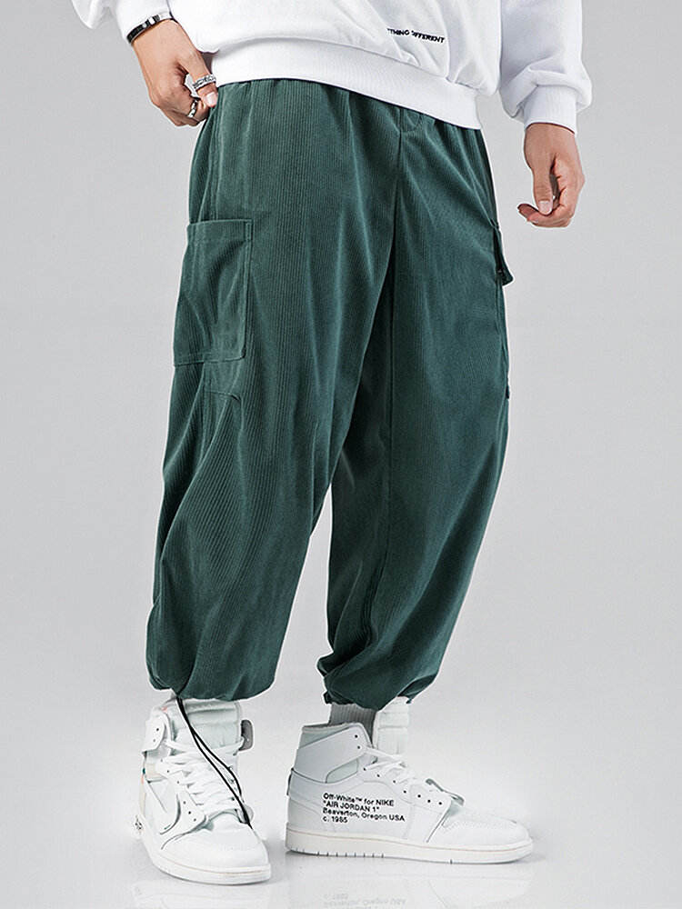 Mens Solid Corduroy Drawstring Cuff Cargo Pants With Pockets