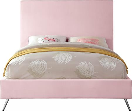 Jasmine JASMINEPINK-T Twin Bed with Gold and Chrome Leg Sets  Full Slats and Velvet Upholstery in