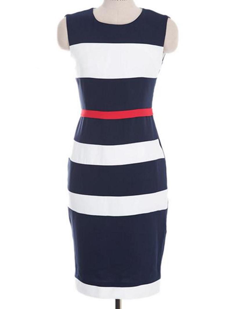 Ericdress Sleeveless Knee-Length Color Block Bodycon Dress
