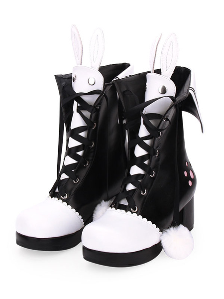 Milanoo Classic Lolita Boots Pom Pom Bunny Ear Two Tone Chunky Heel PU Lolita Shoes