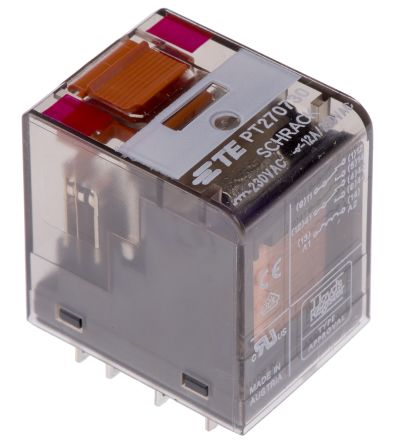TE Connectivity , 230V ac Coil Non-Latching Relay DPDT, 12A Switching Current Plug In, 2 Pole