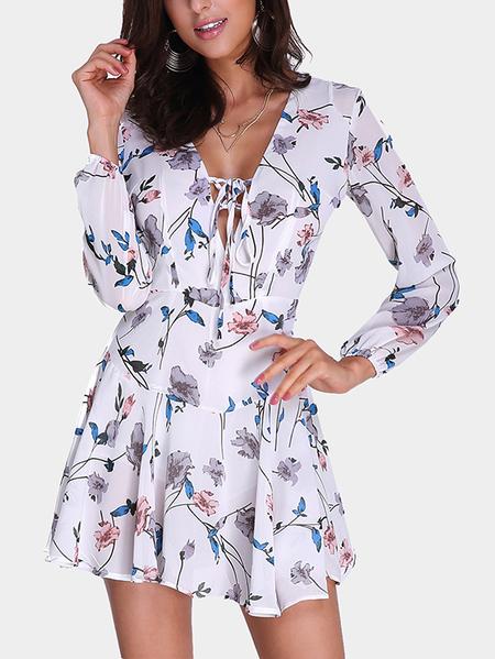 Yoins Fashion Random Floral Print Lace-up Front Mini Dress with Zip Back