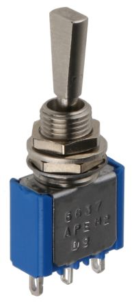 APEM SPST Toggle Switch, (On)-Off-(On), Panel Mount