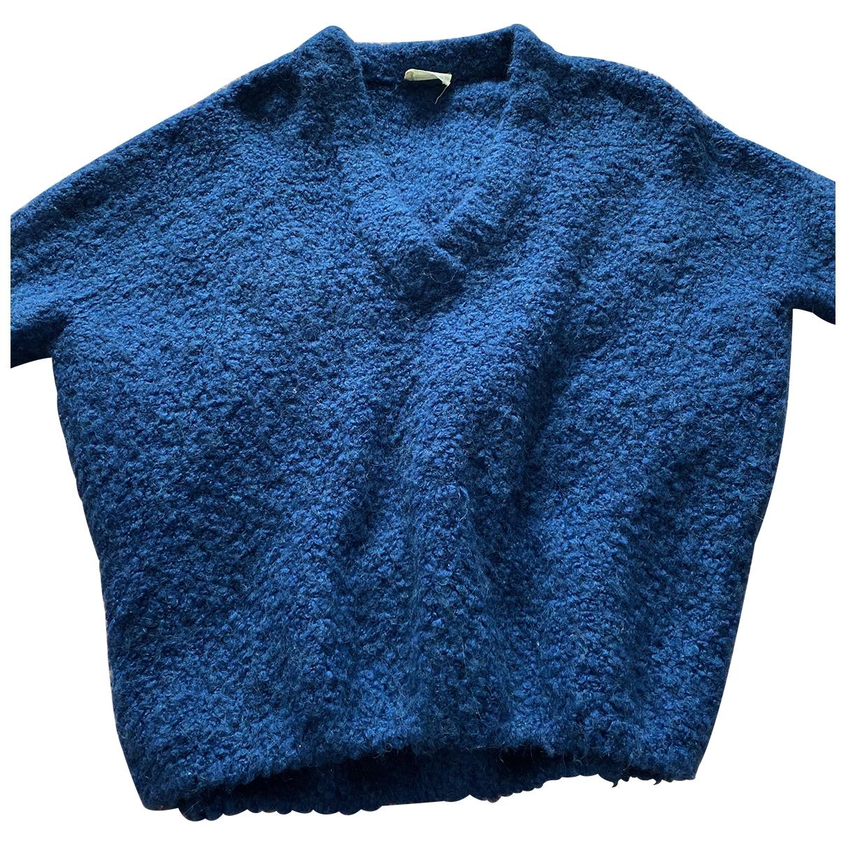 American Vintage - Pull   pour femme en laine - bleu