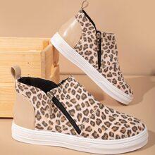 Sneakers mit seitlichem Reissverschluss und Leopard Grafik