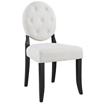 Button Collection EEI-1381-BEI Dining Side Chair with Dense Foam Padding  Modern Style  Tapered Legs  Solid Rubberwood Frame and Polyester Fabric
