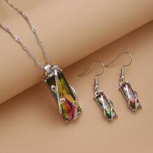 1pc Gemstone Decor Necklace & 1pair Drop Earrings