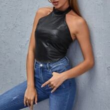 O-ring Zip Back Crocodile Embossed Halter Top