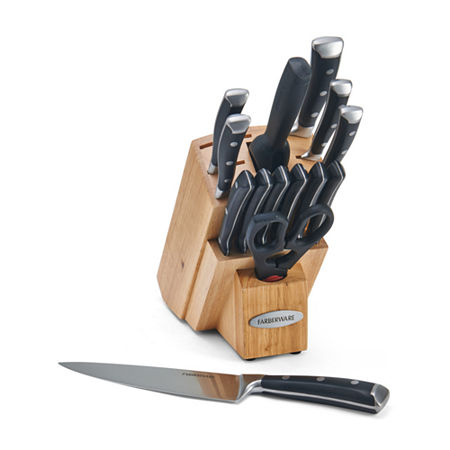 Farberware Forged Triple Rivet Cutlery 15-pc. Knife Block Set, One Size , Black