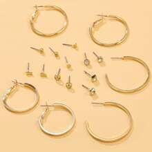 9 Paare Ohrringe mit Strass Dekor