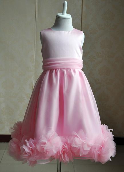 Milanoo Vestido de damitas con escote redondo y flor
