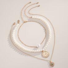 3 Stuecke Halskette mit Kunstperlen Dekor