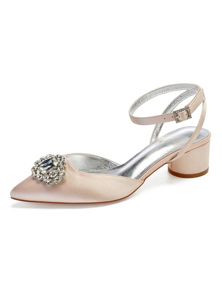 Milanoo Dark Navy Mother Shoes Satin Pointed Toe Slingbacks Bridal Shoes Wedding Guest Shoes