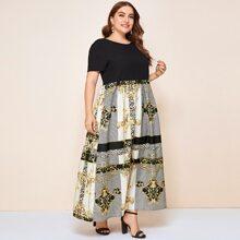 Plus Baroque Print Combo Maxi Dress