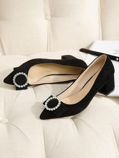 Milanoo Women\'s Mid-Low Heels Elegant Pointed Toe Chunky Heel Slip-On Stylish Bows Pink Pumps Heels