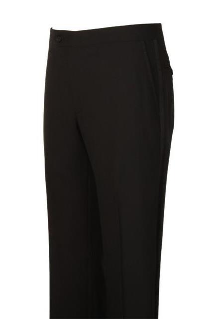 Harwick Clothing Black 1 Wool Flat Front Dress Pants