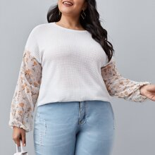 Plus Contrast Sleeve Waffle Knit Top