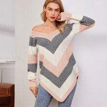 Pullover mit Zipfelsaum und Chevorn Muster