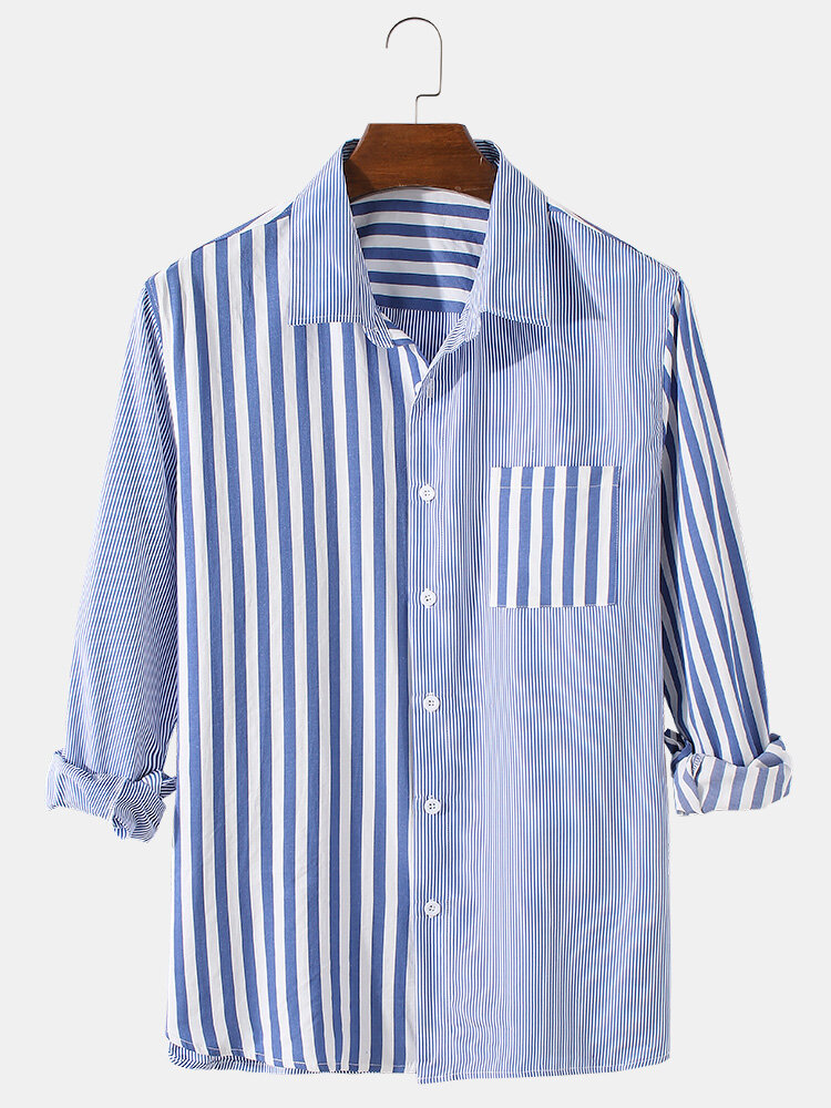 Mens Patchwork Striped Print Cotton Lapel Casual Fit Long Sleeve Shirts With Pocket