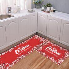 1pc Christmas Slogan Print Kitchen Floor Mat