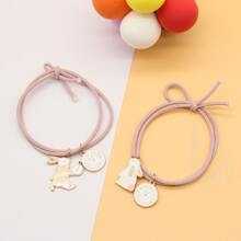 2pcs Clock Rabbit Decor Hair Tie