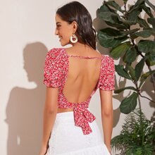 Tied Open Back Puff Sleeve Ditsy Floral Crop Top