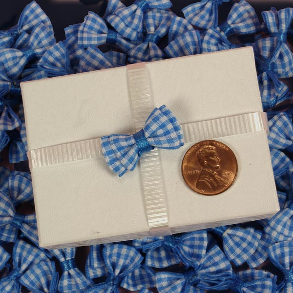 Fabric Cloth Baby Blue Small Gingham Bow Ties 1