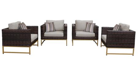 Barcelona BARCELONA-04g-GLD-BEIGE 4-Piece  Patio Set 04g with 4 Club Chairs - 2 Beige Covers with Gold