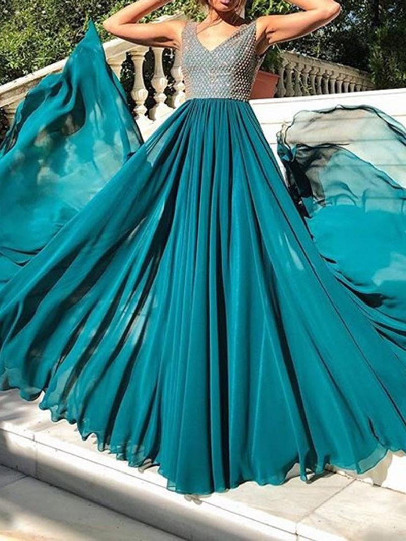 Ericdress Sequins Floor-Length Sleeveless Plain Mesh Dress