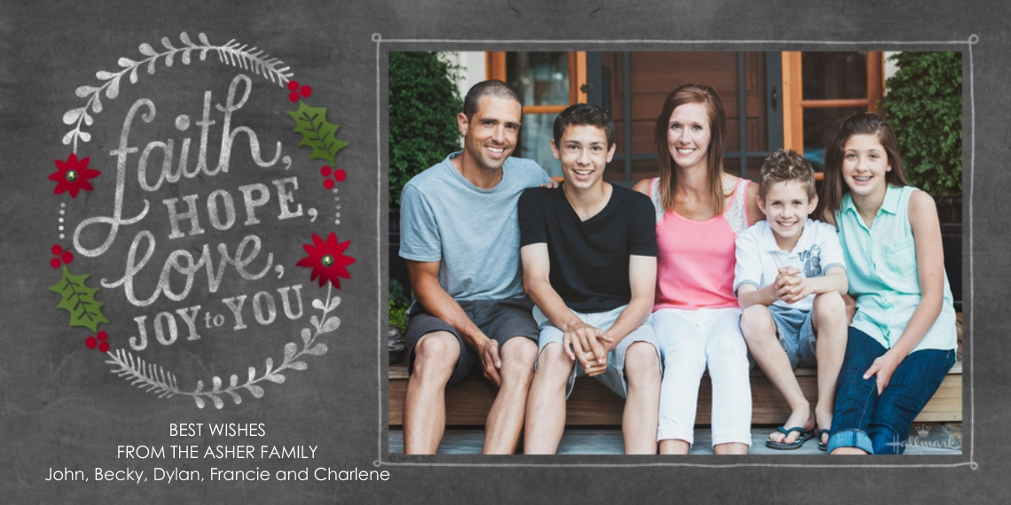 Religious Christmas Cards Flat Matte Photo Paper Cards with Envelopes, 4x8, Card & Stationery -Faith Hope Love Chalkboard