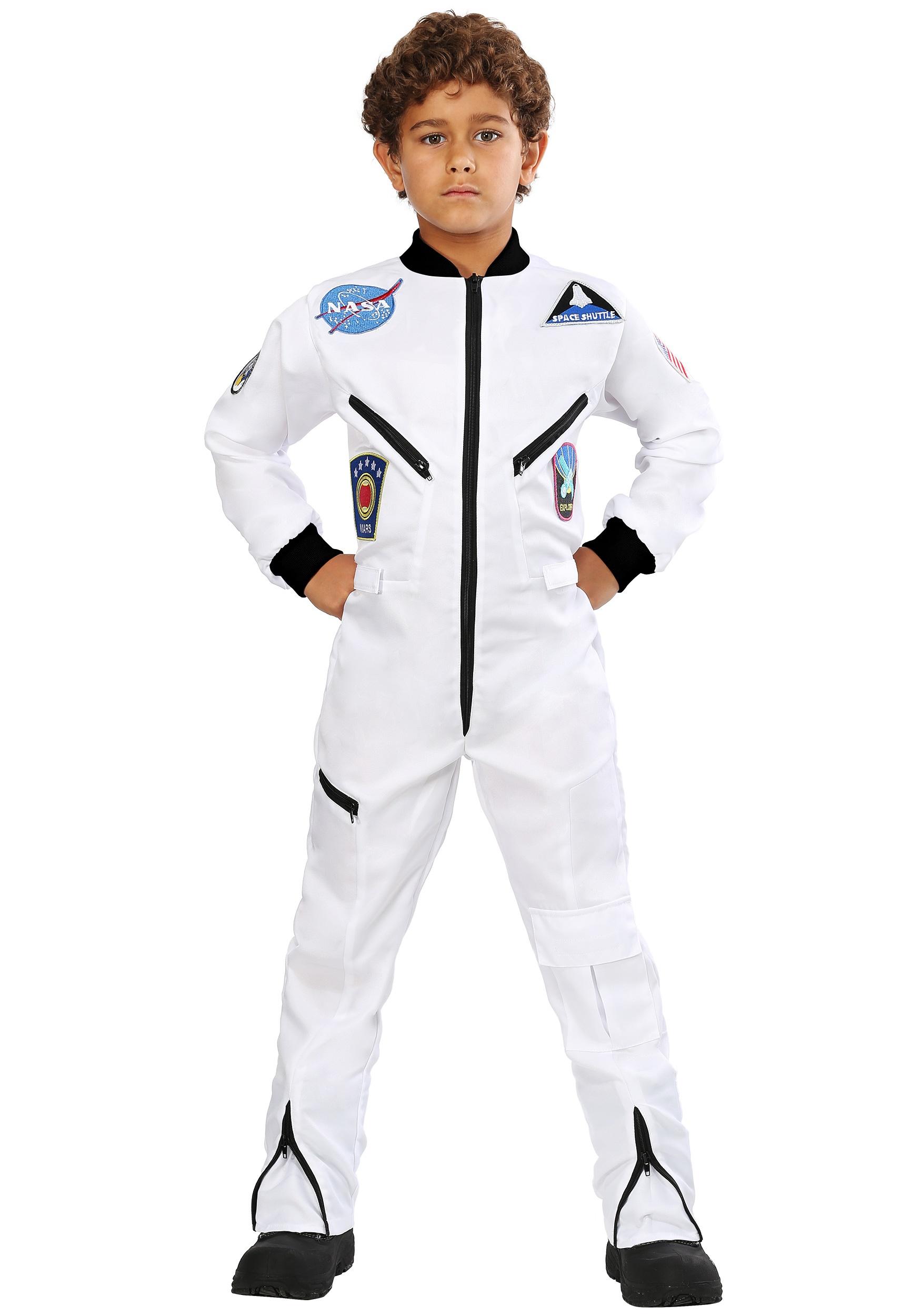 Kid's White Astronaut Jumpsuit Costume