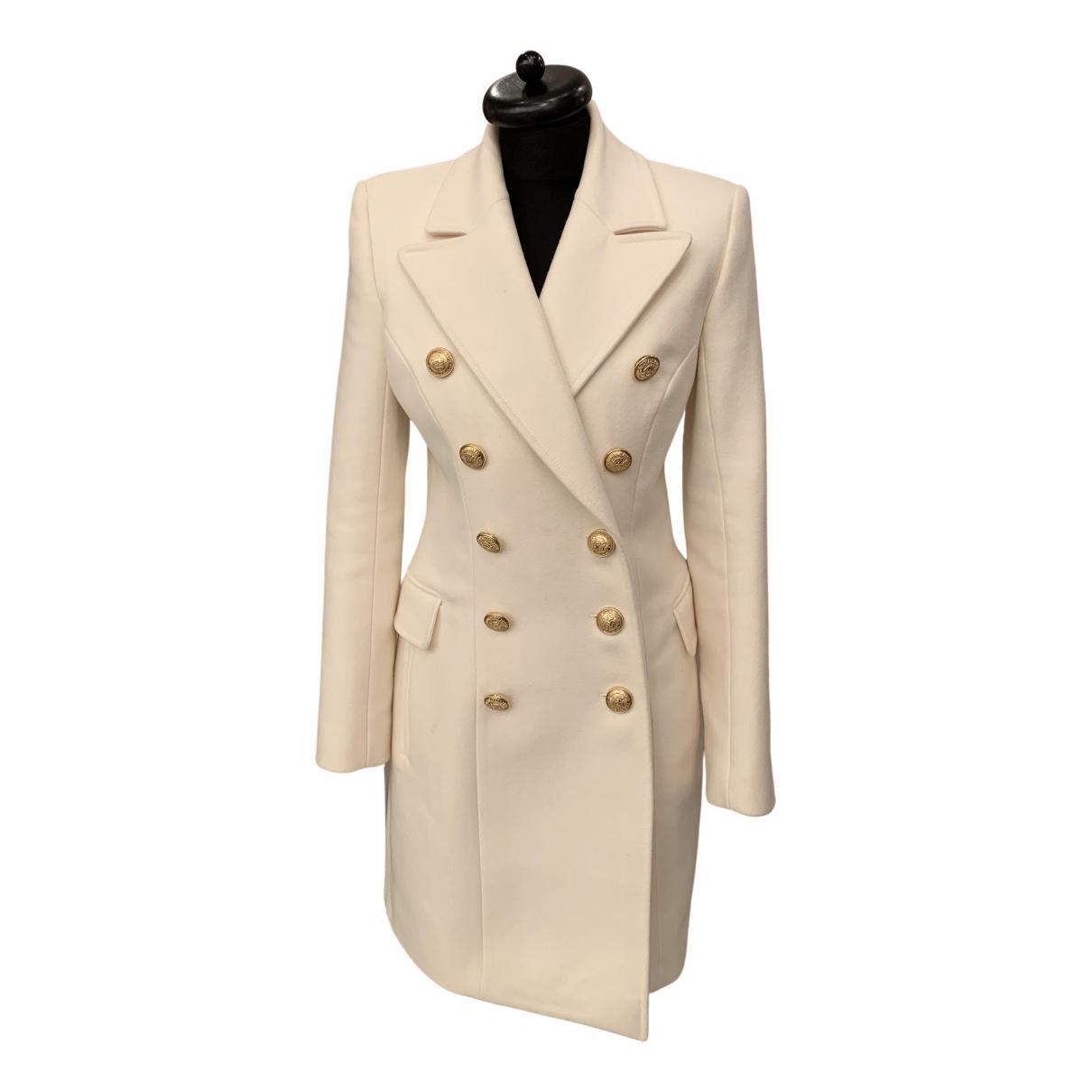 Balmain \N White Wool coat for Women 38 FR