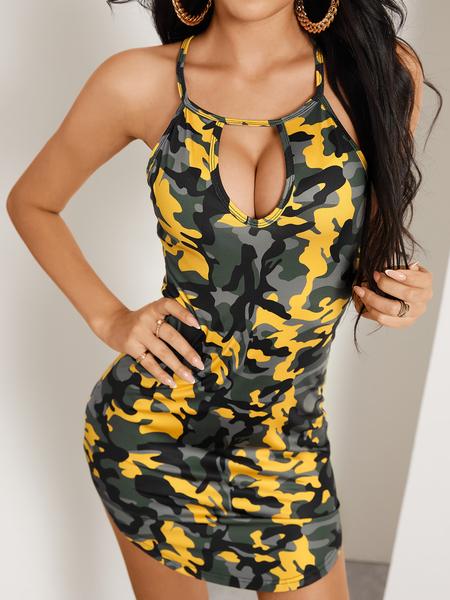 YOINS Yellow Cut Out Camo Round Neck Sleeveless Dress