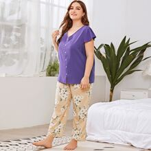 Plus Flutter Sleeve Top With Floral Pants Pajama Set