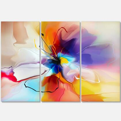PT7329-3P Creative Flower In Multiple Colors - Large Floral Canvas Art - 36X28 - 3