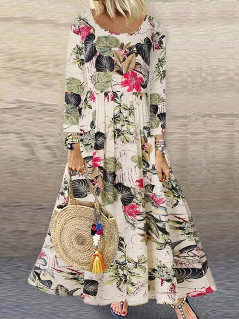 Ericdress Round Neck Nine Points Sleeve Print High Waist Fall Dress