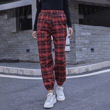 Pantalones de tartan de cintura elastica