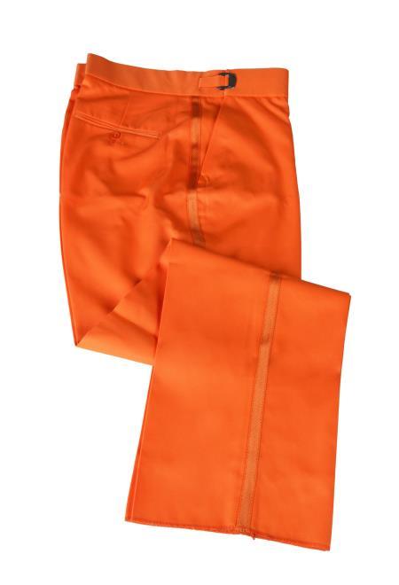 Men's Orange Trimmed Flat Front Tuxedo Dress Pant