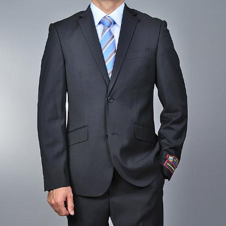 2 Button Black Slim Fit  Suit Mens Cheap
