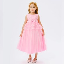 Toddler Girls Contrast Lace Bow Detail Tie Back Tutu Dress