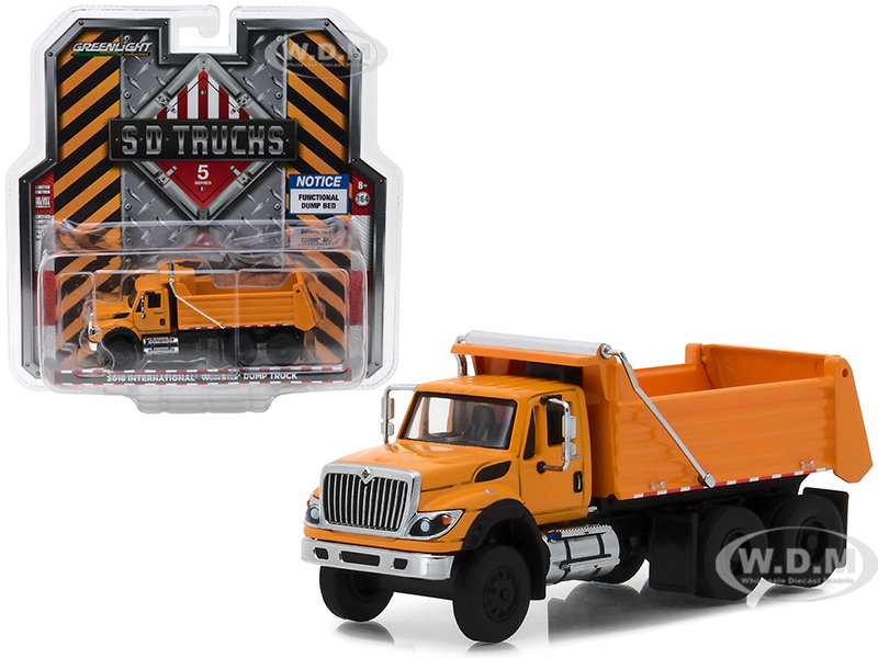 2018 International WorkStar Construction Dump Truck Orange S.D. Trucks Series 5 1/64 Diecast Model by Greenlight