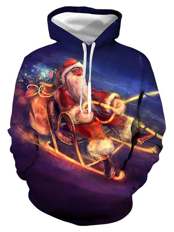 Christmas Soft 3D Santa Print Unisex Pocket Pullover Sweatshirt Hoodies