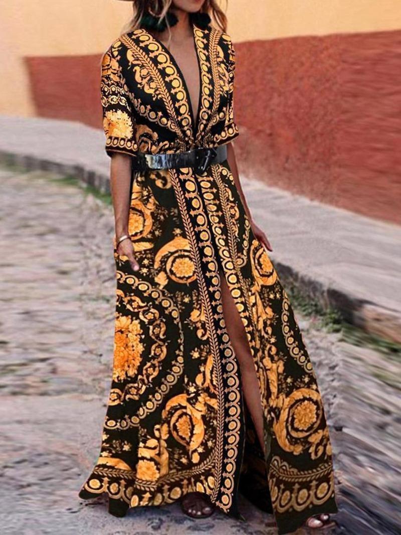 Ericdress Half Sleeve V-Neck Floor-Length Cardigan Dress(Without Waistband)
