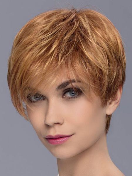 Milanoo Pelucas cortas Mujer Pelucas de cabello humano con separacion lateral