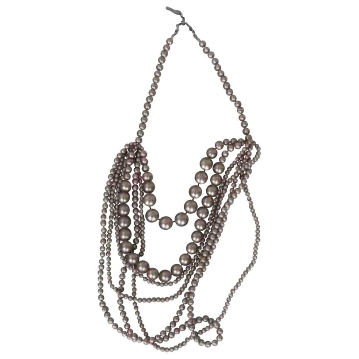 Non Signe / Unsigned \N Halskette in  Beige Kunststoff