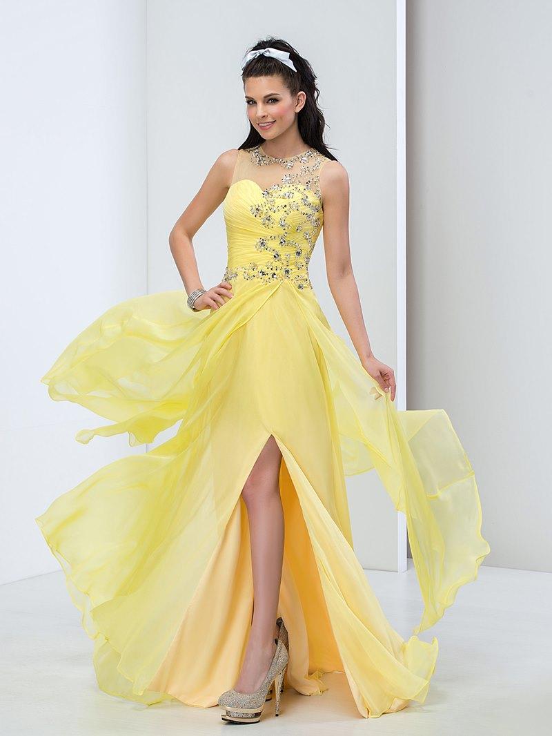 Ericdress Beading Pleats Side-Split Long Prom Dress