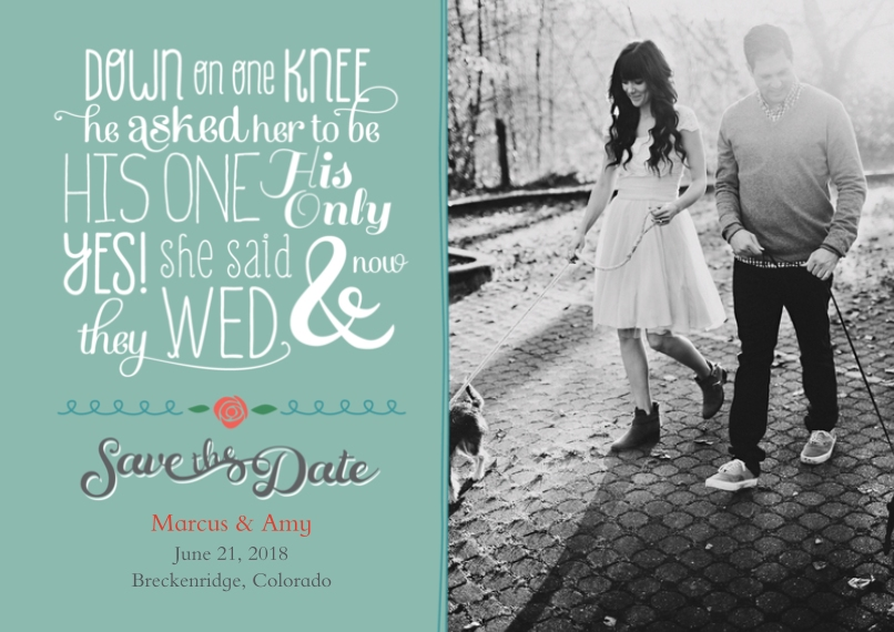 Save the Date 5x7 Cards, Premium Cardstock 120lb with Elegant Corners, Card & Stationery -Fun Fonts Poem Save the Date