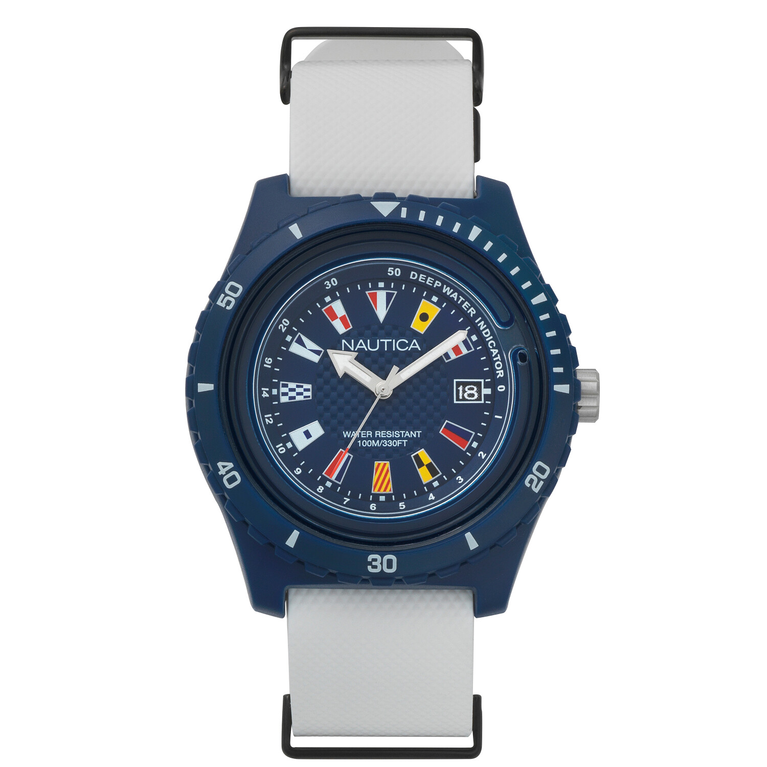 Nautica Watch NAPSRF002 Surfside, Analog, Water Resistant, Deep Water Indicator, Calendar, Signal Flag Indexes, Silicone Strap, Blue