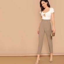 Pantalones conicos solidos de cintura con volante