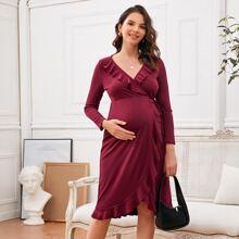Maternity Ruffle Trim Tie Side Dress